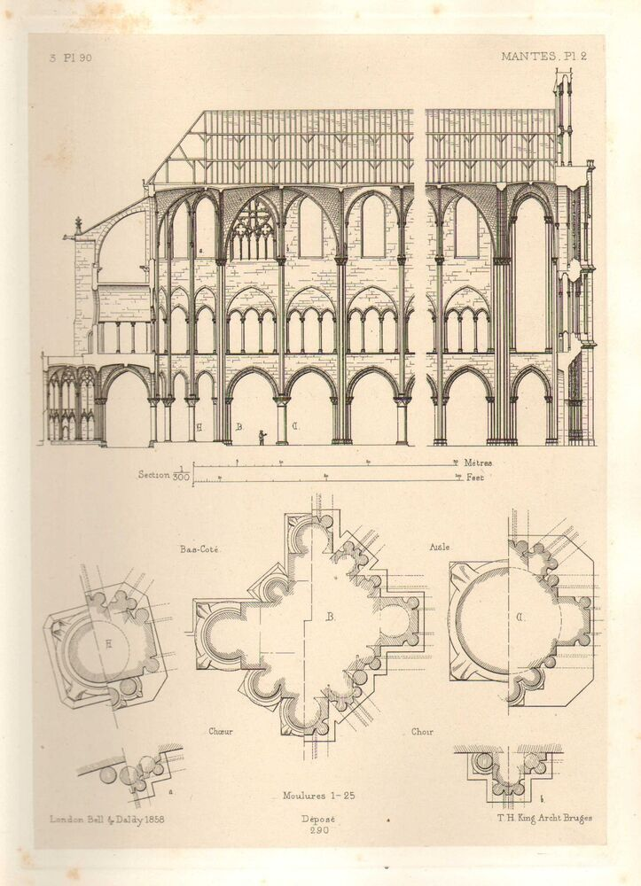 1858 large architecture print mantes cathedral medieval Printing architectural drawings