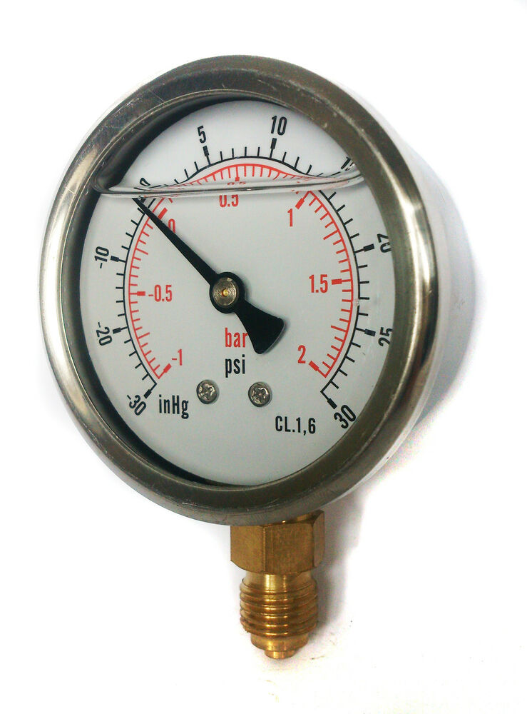 High Pressure Vacuum Gauge : Compound pressure vacuum gauge glycerine filled mm