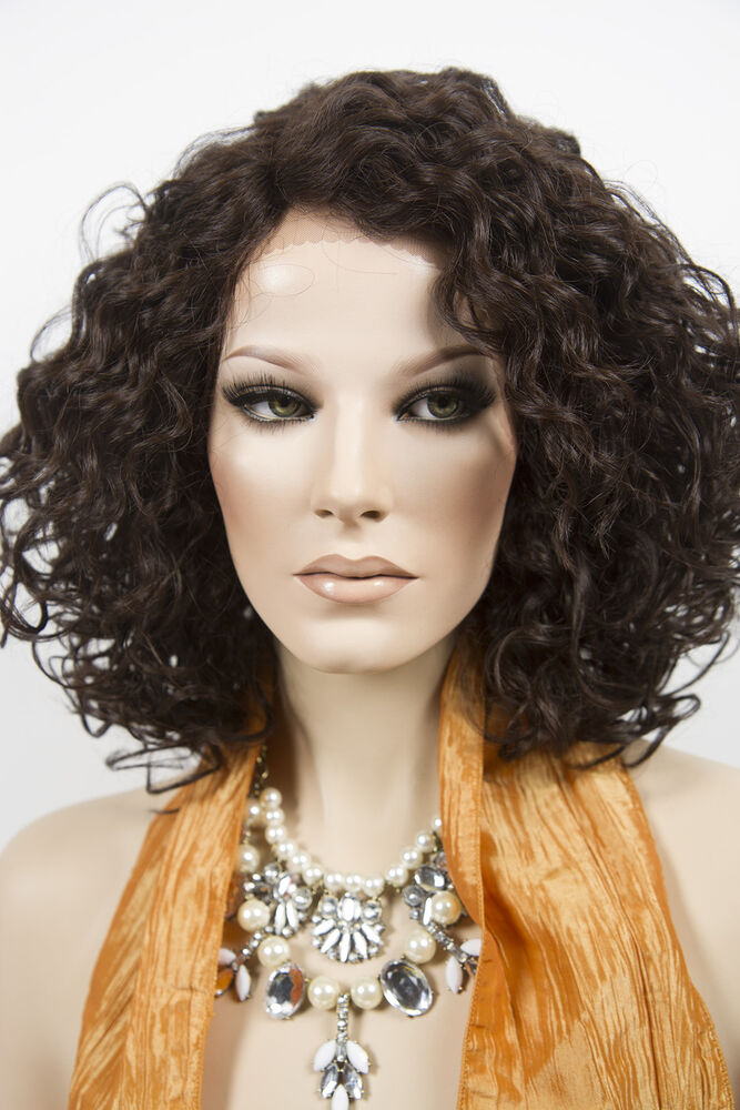 Dark Brown Brunette Medium Lace Front Wavy Curly Wigs | eBay