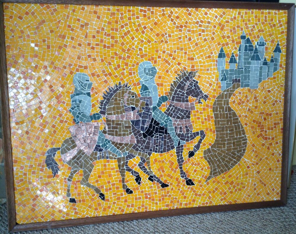Large Mid Century Modern Evelyn Ackerman Style Mosaic Tile Knights ...