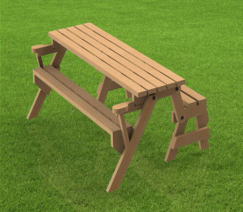 Folding Bench And Picnic Table Combination Building Plans 6ft Ebay