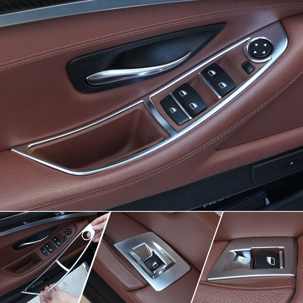 5 Panel Window : Pcs chrome door window switch panel trim for bmw series