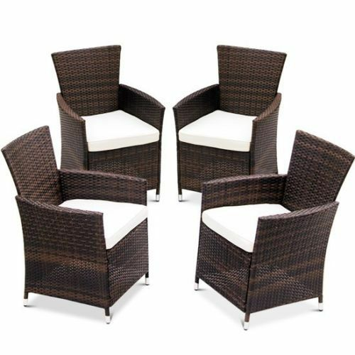4 X Rattan Garden Furniture Dining Chairs Set Outdoor