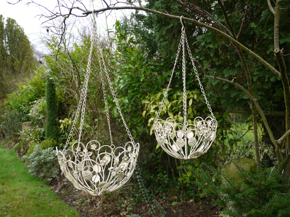 Set Of 2 Cream Hanging Baskets Metal Ornate Shabby Chic