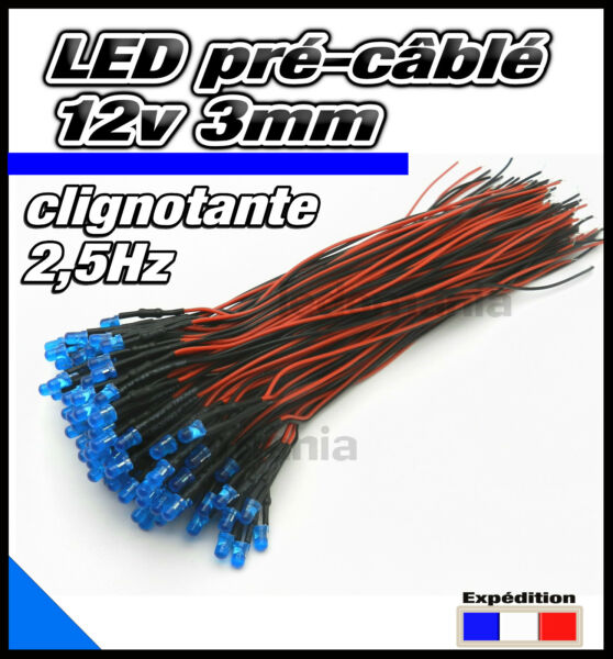 C213DB# LED clignotante 3mm12v pré-câblé bleu diffusant pre wired LED blue flash