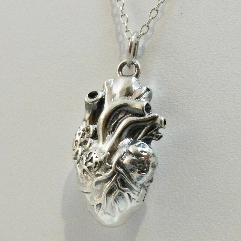 3d anatomical human charm necklace 925 sterling