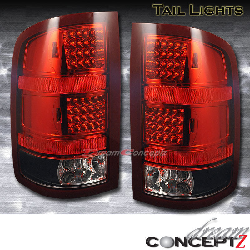 Details About 2007 2008 2009 2010 Gmc Sierra 1500 2500 Led Tail Lights Lamps Red Black Lens