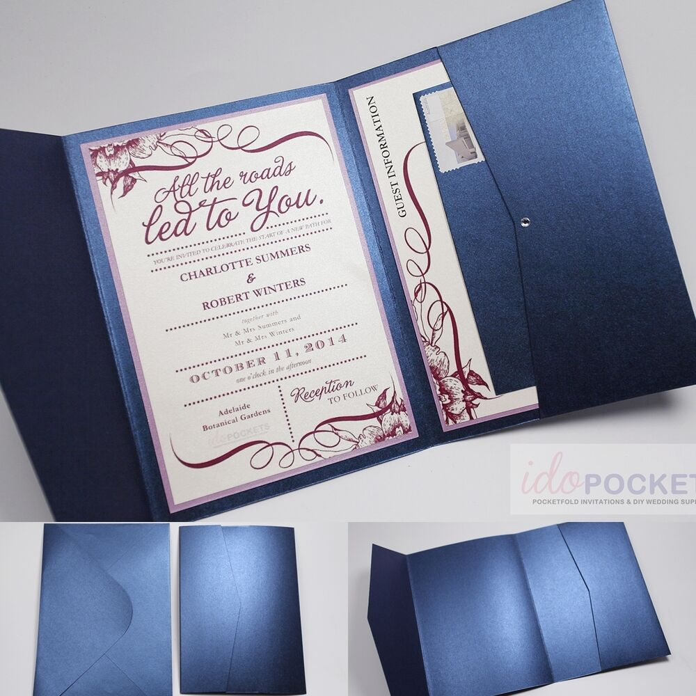 Wedding Invitation Folders With Pocket: ROYAL DARK BLUE RECTANGLE WEDDING INVITATION ENVELOPES