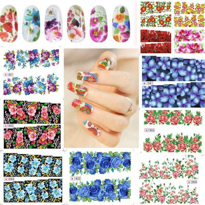 Flower Decal Water Transfer Women Manicure Nail Art ...