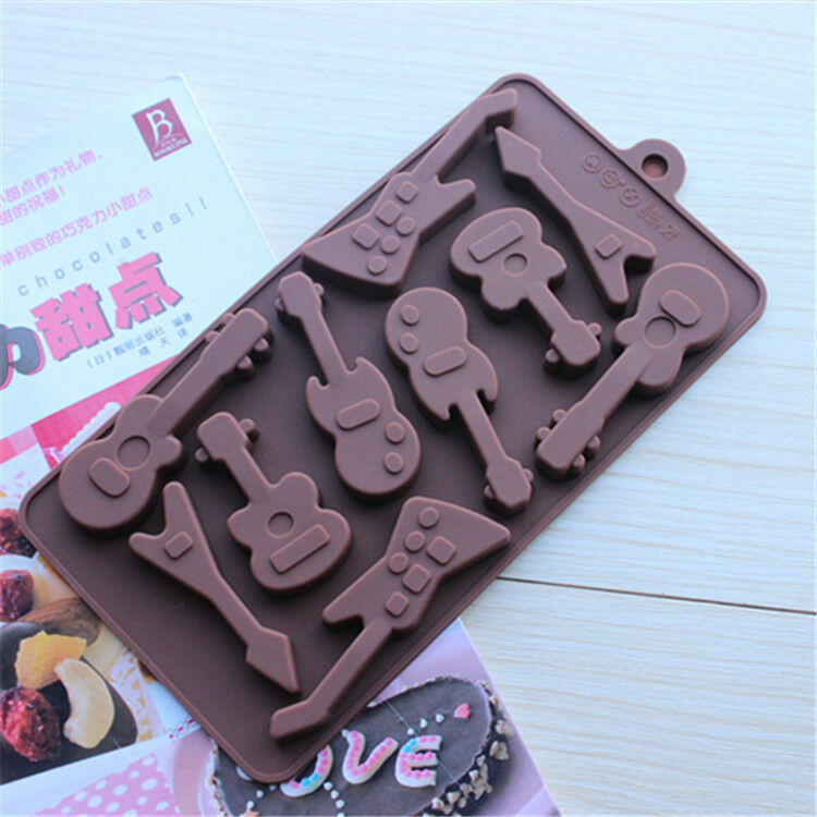 Cake Mold Soap Mold 10 Guitar Flexible Silicone Mould For