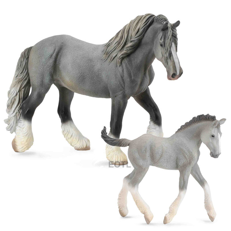 CollectA 88574 88575 Grey Shire Horse Mare & Foal - Set of ...