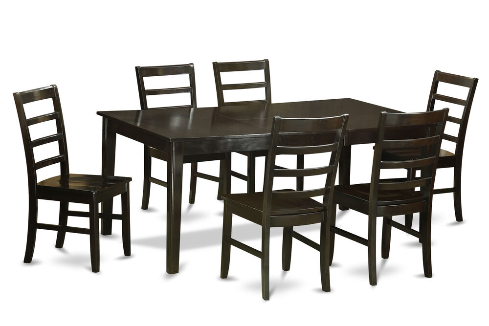 7 pc dinette dining set table w 6 plain wood seat chairs in cappuccino finish ebay - Pc dining room set ...