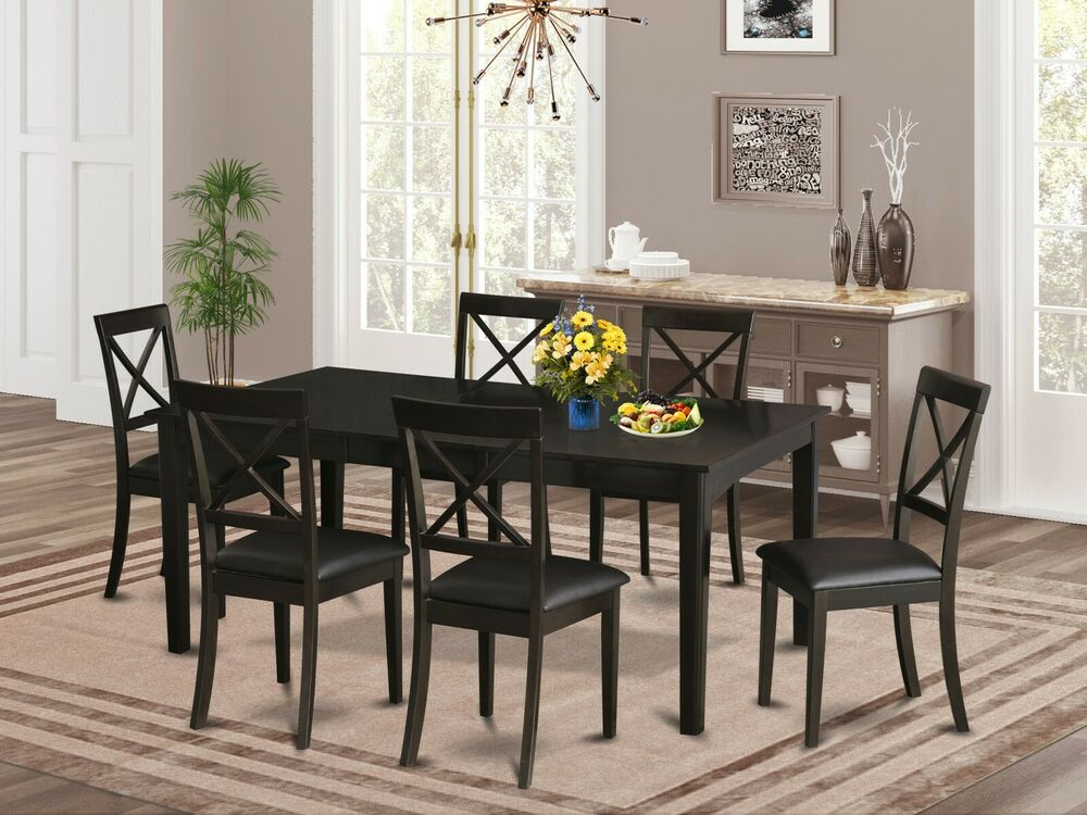 7 pc dinette dining room set table w 6 boston leather for 7 pc dining room set
