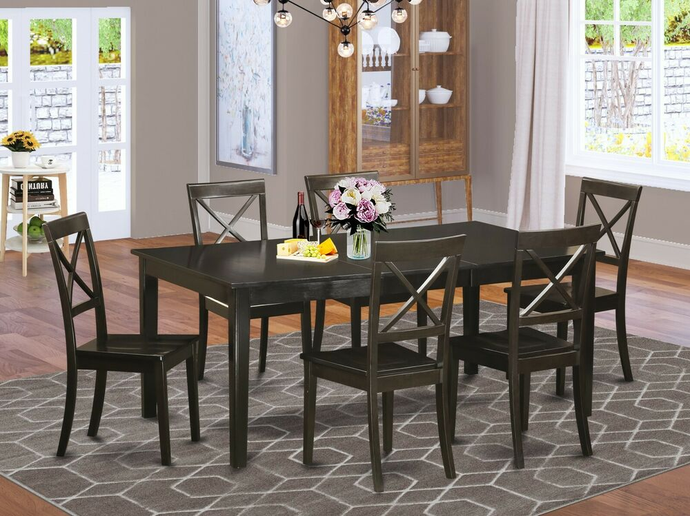 7pc dinette dining set table w 6 boston wood seat chairs for 7 piece dining room sets under 1000