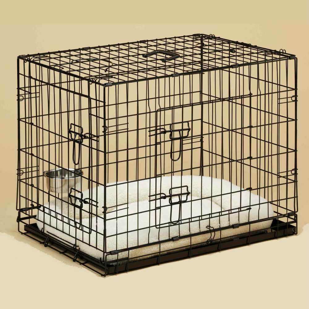 Dog Cage With Sheepkin Bed Amp Dog Crate Bowls Puppy Small