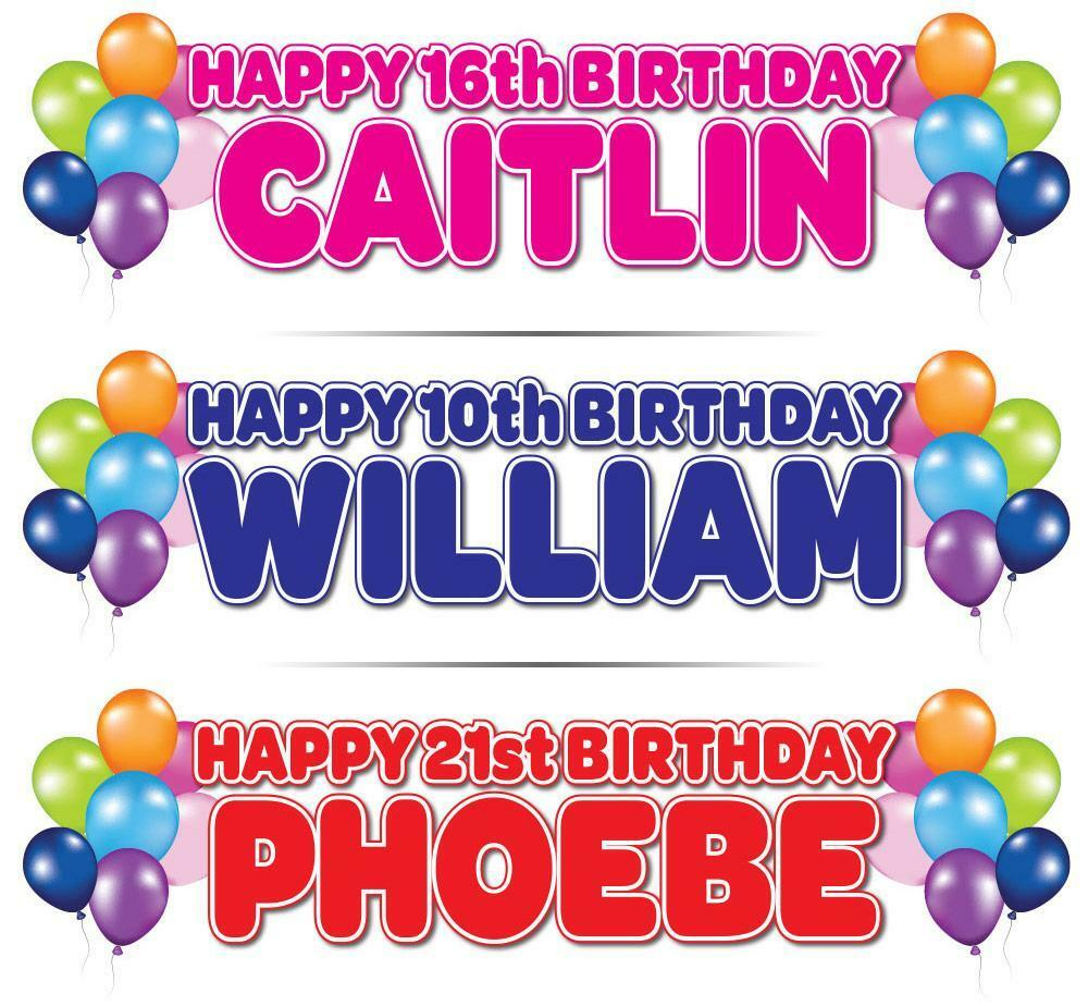 "2 X PERSONALISED BIRTHDAY BANNER 3ft- 36 ""x 11"" 1st 18th"