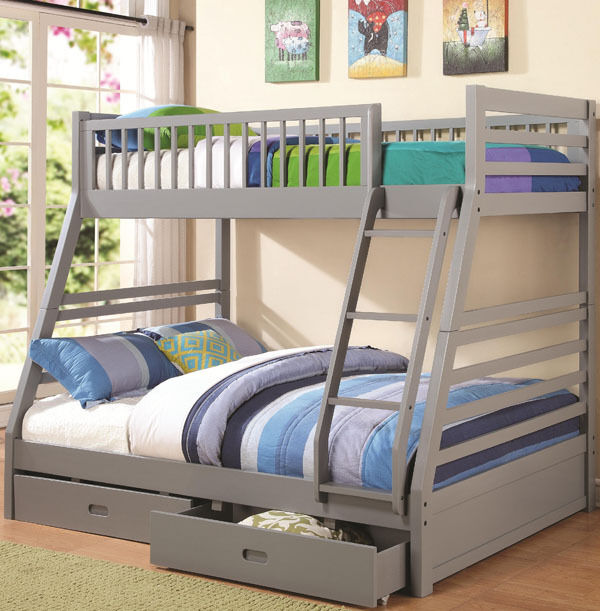 New Brinly Gray Finish Wood Twin Over Full Bunk Bed w Under Bed Drawers | eBay