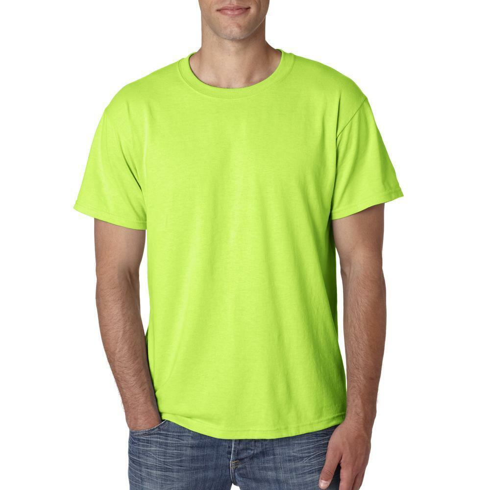 Safety green neon men 39 s short sleeve t shirt tee solid for Neon green shirts for men