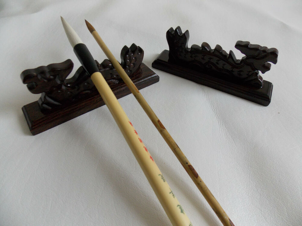 Pc caved solid wood dragon chinese brush rest holder rack