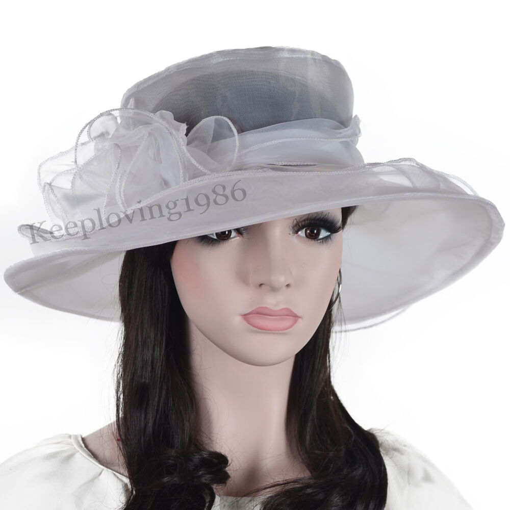 Lady kentucky derby wedding church dress organza tea party for Dress hats for weddings