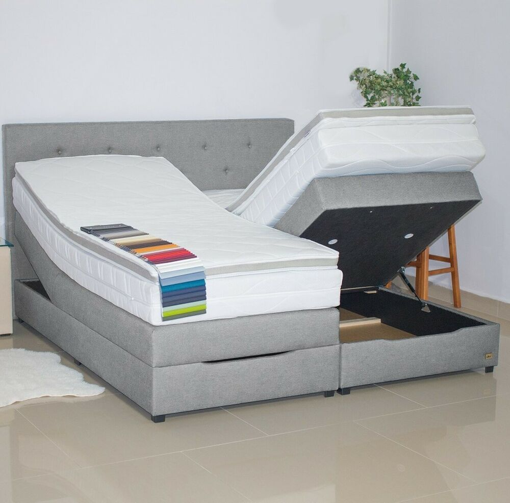 klima boxspringbett mit bettkasten 200x200 stauraum. Black Bedroom Furniture Sets. Home Design Ideas