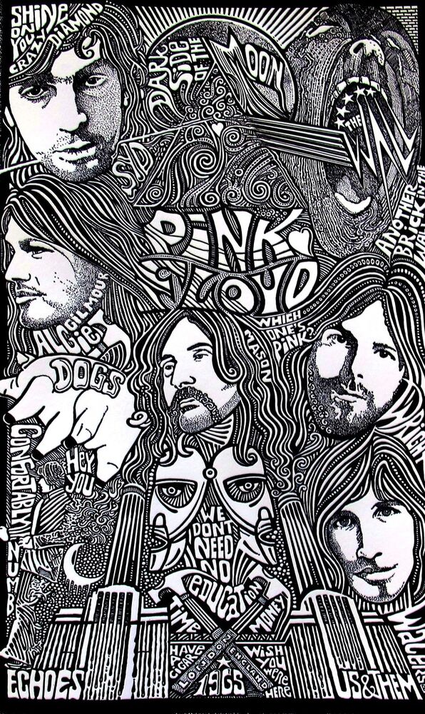 Pink Floyd Psychedelic Hand Signed Posterography