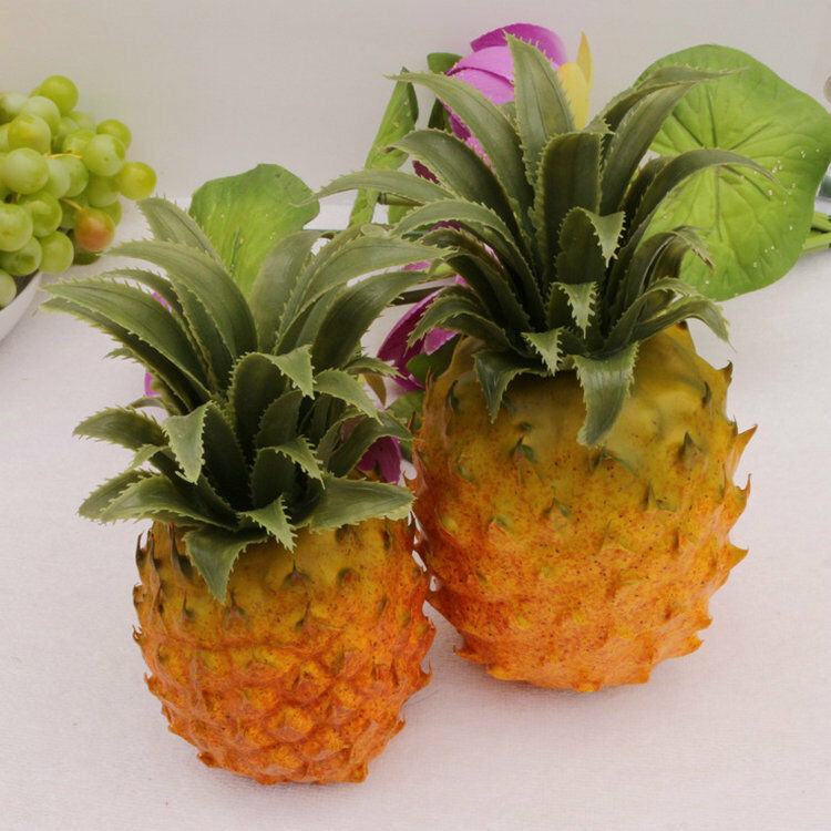 2 pcs orange plastic faux pineapple artificial fruit house
