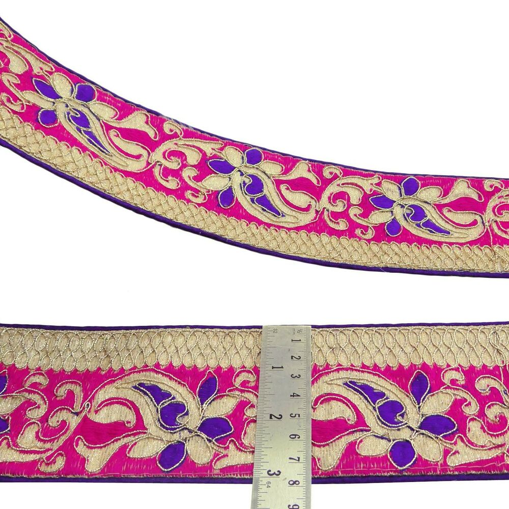 Pink embroidered trim floral craft ribbon cm wide