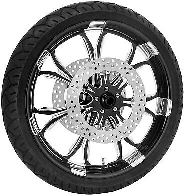 Performance Machine 21 Front Black Paramount Wheel Tire Rotor Pkg