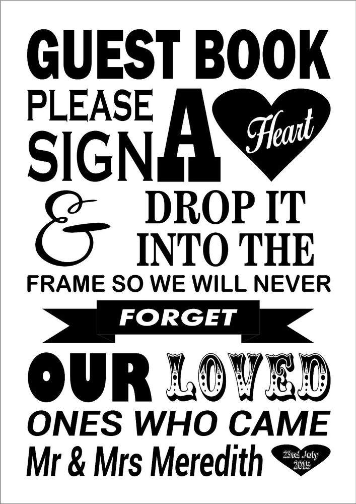 Wedding Heart Signing Print Canvas Instructions Guest Book
