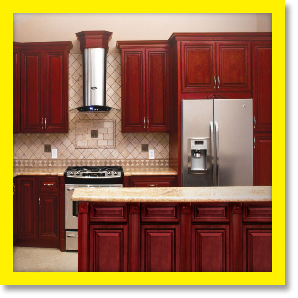 Cherryville all wood kitchen cabinets cherry stained for All in one kitchen cabinets