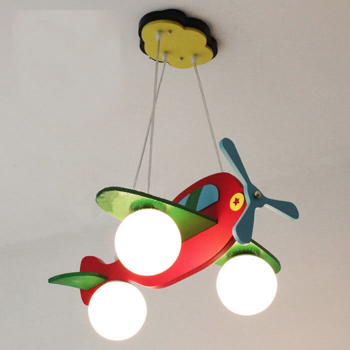 Kid's Bedroom Red Airplane Ceiling Pendant Lamp Study Room
