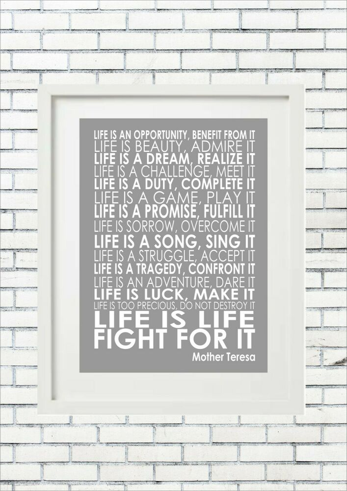 Mother Teresa Life Is An Opportunity Word Typography Words ...