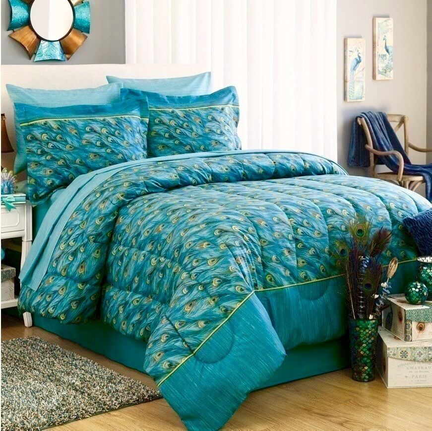 Peacock Feathers Teal Blue Green Exotic Bird Bedding 6 8p