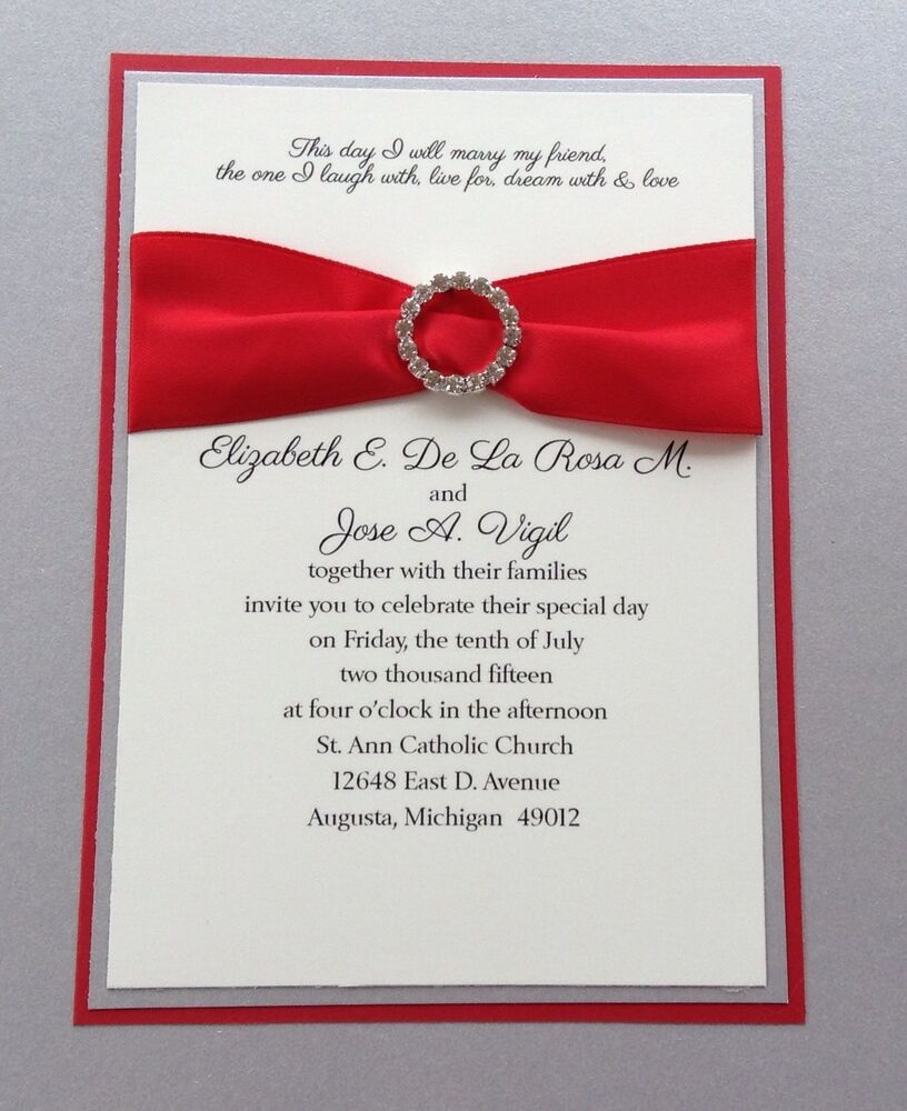 Silver Wedding Invitations: Red And Silver Wedding Invitation Set