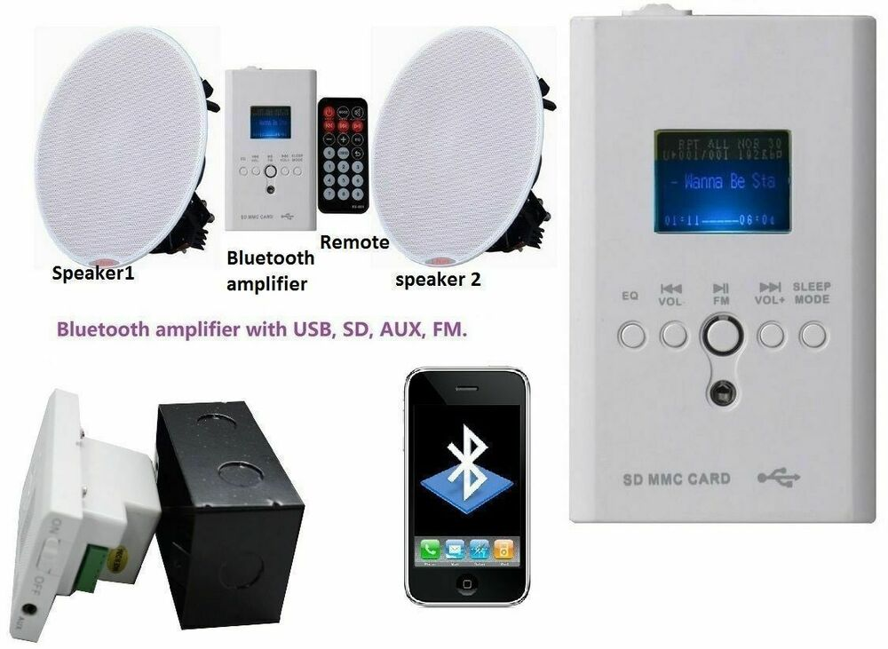 Wireless bluetooth ceiling speakers stereo kit fm usb aux - Bathroom ceiling speakers bluetooth ...