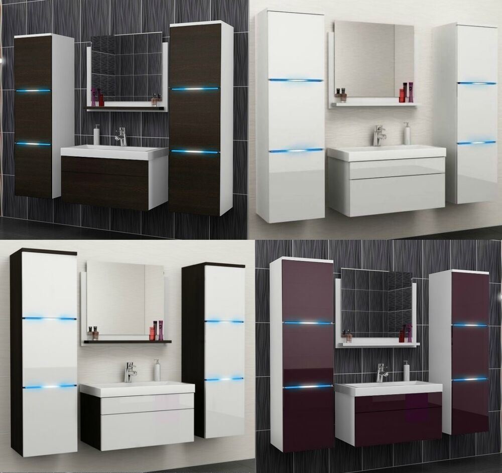 badm bel set 5tlg hochglanz matt g ste wc waschbecken spiegel led badezimmer ebay. Black Bedroom Furniture Sets. Home Design Ideas