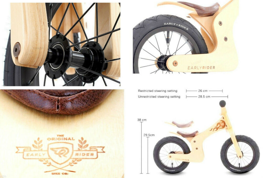early rider lite natural 12 inch kids wooden balance bike for 1 5 3 5 years ebay. Black Bedroom Furniture Sets. Home Design Ideas