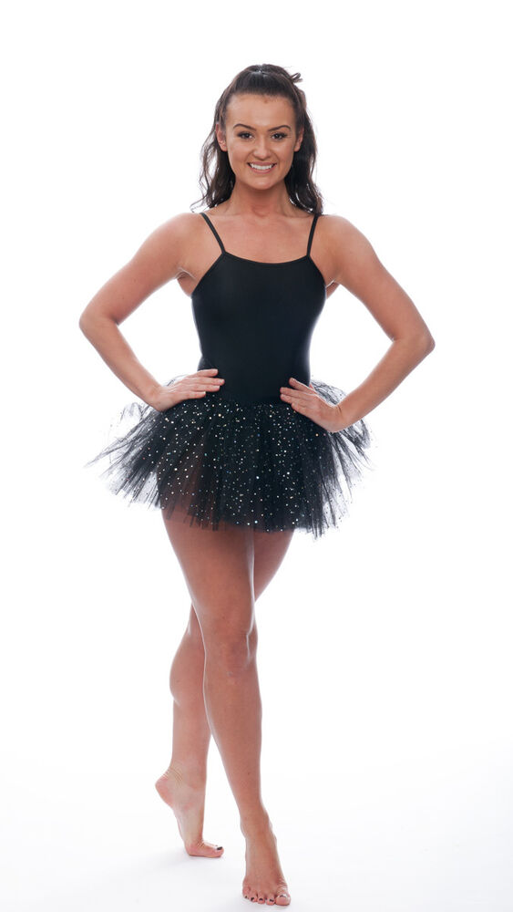 9a6725bf0 Black Sparkly Sequin Dance Ballet Tutu Skirt Childs   Ladies Sizes ...