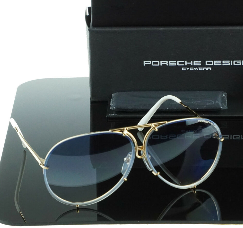 b4d1dbe5d7c NEW Genuine PORSCHE DESIGN Titanium Gold Blue Aviator Sunglasses P 8478 W  69 MM
