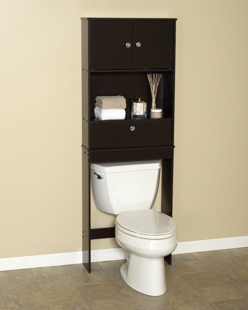 Zenith drop door spacesaver cabinet over the toilet for Bathroom over the toilet shelf