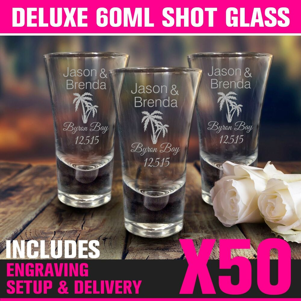 50 60ml Engraved Shot Glasses Wedding Favour Gift Bomboniere Hens ...