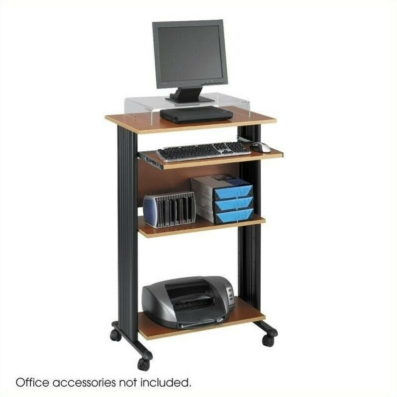 Standing Wood Workstation in Cherry Transitional Computer Cart | eBay