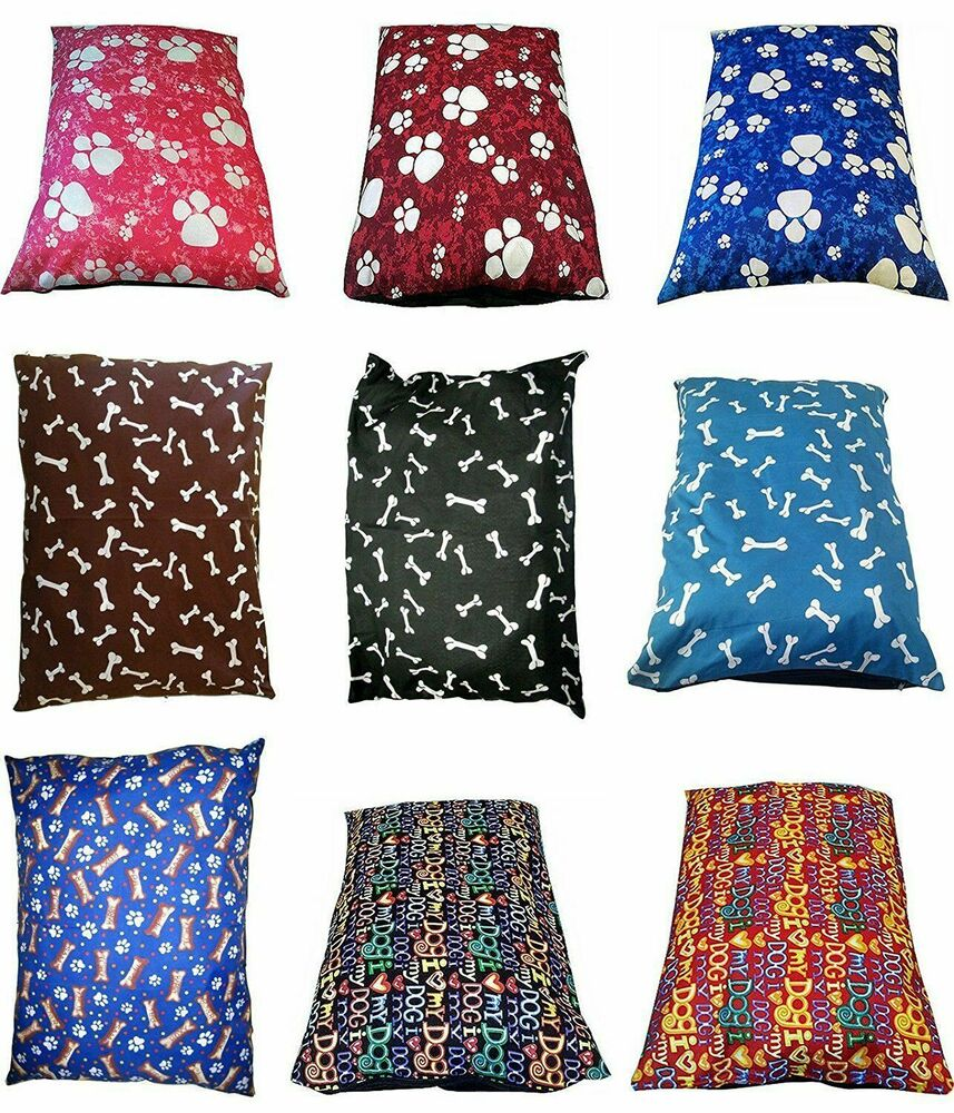 MEDIUM LARGE DOG BED PILLOW WASHABLE COVER FILLED