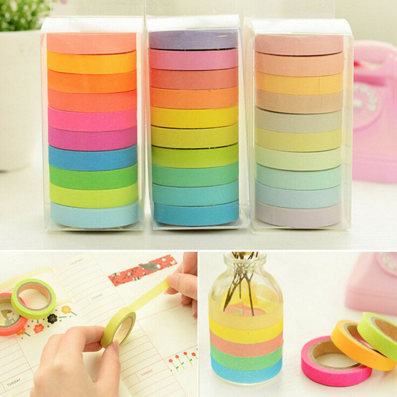 10 x rainbow washi masking tape scrapbook decorative paper for Adhesive decoration