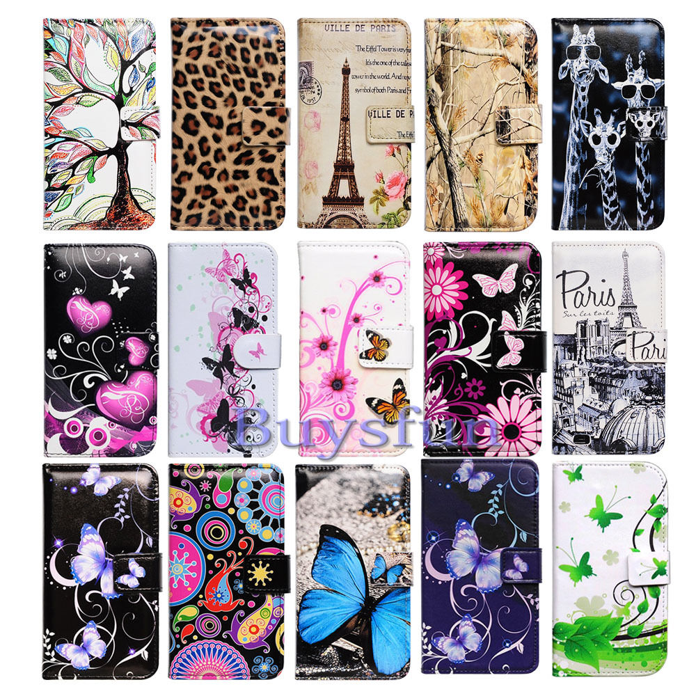 bcov leopard butterfly paris leather wallet cover case for. Black Bedroom Furniture Sets. Home Design Ideas