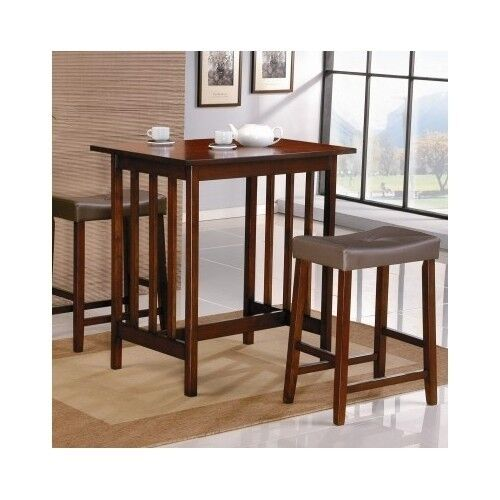 3 piece dining set pub bar table stools chairs dinette for Kitchen table and stools set
