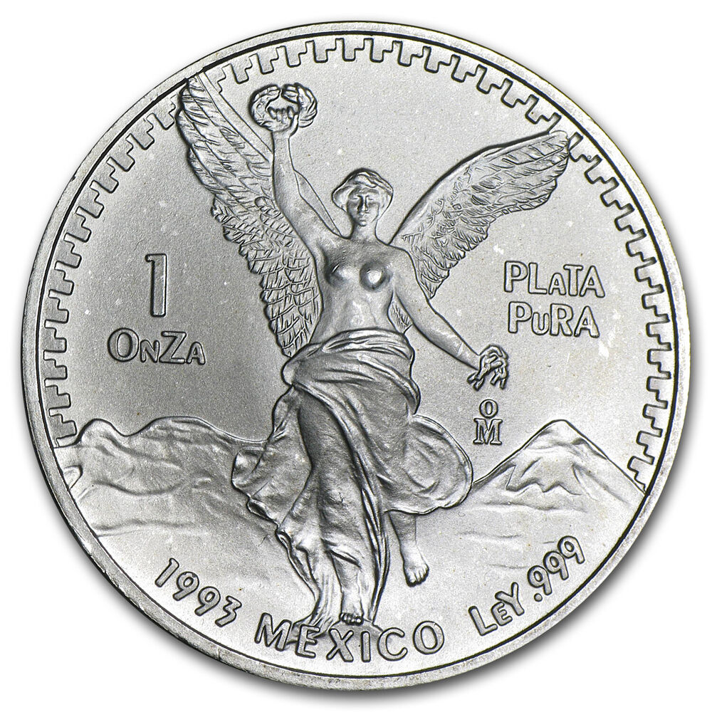 1993 1 Oz Silver Mexican Libertad Coin Brilliant