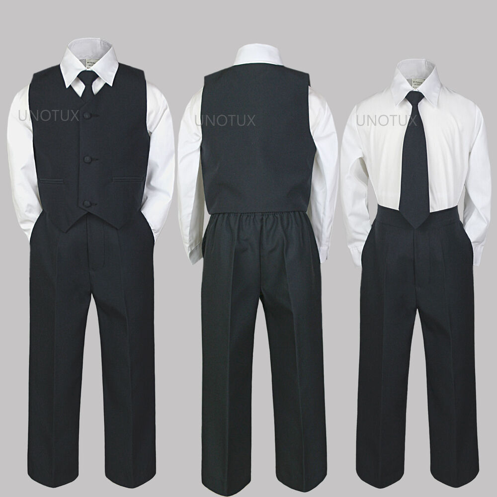 Baby Toddler Kid Teen Boy Wedding 4pc Formal Party Vest
