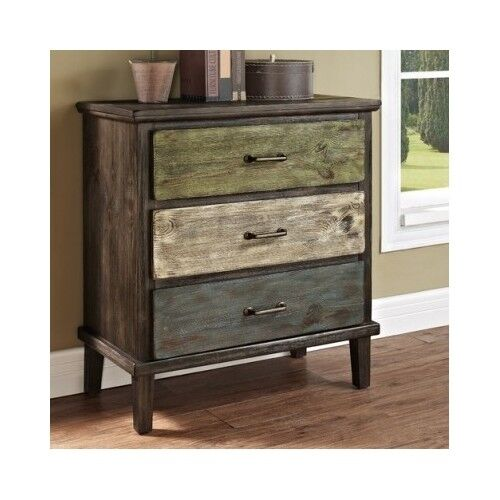 Rustic Wood Chest Drawers Nightstand Dresser Distressed